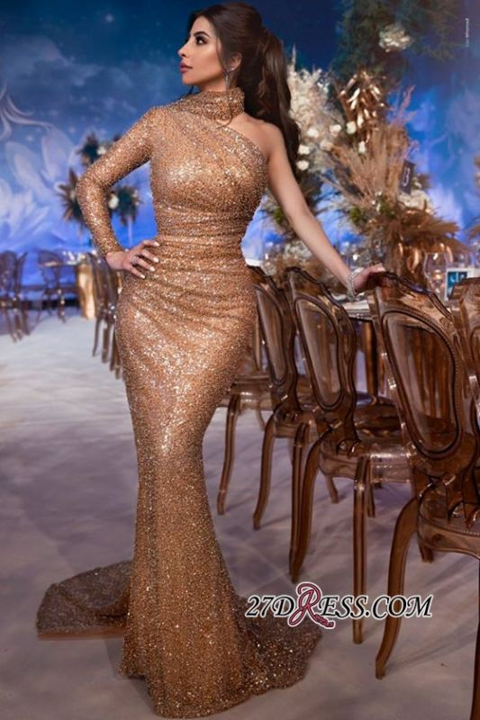 Gorgeous High-Neck One-Shoulder Mermaid Evening Gown | Long-Sleeves Sequins Prom Dress BC1686