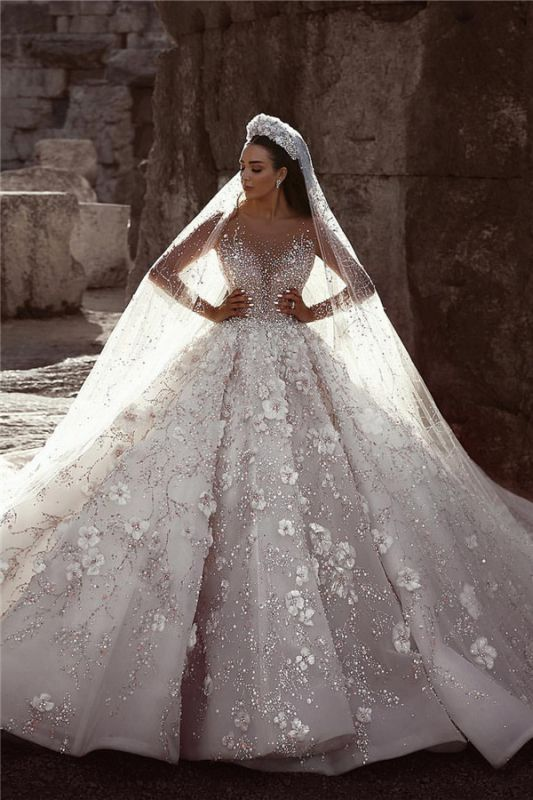 Luxurious Long Sleeve 2020 Wedding Dresses | Ball Gown Flowers Crystal Bridal Gowns