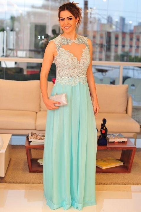 Newest Lace Appliques A-line 2020 Prom Dress Chiffon Floor-length