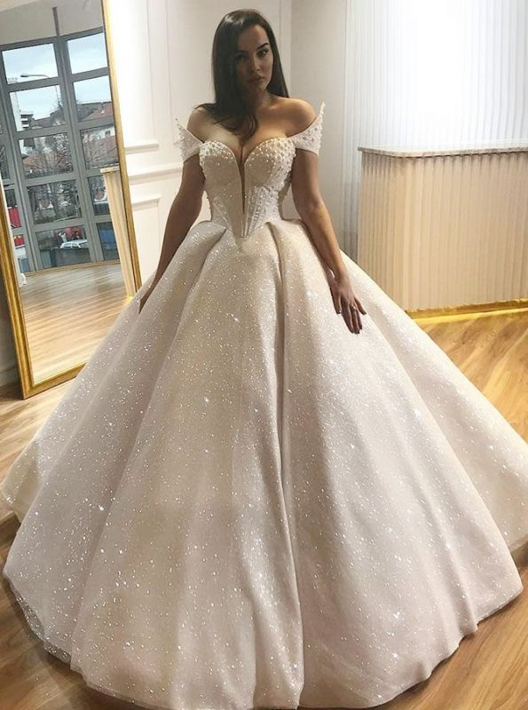 Glamorous Cap-Sleeve 2020 Wedding Dress   Ball Gown Sequins Bridal Gowns BC0812