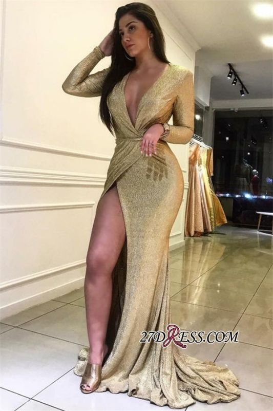 Sexy Front Split Mermaid Evening Gowns | Deep V-Neck Long Sleeves Prom Dresses BC0727