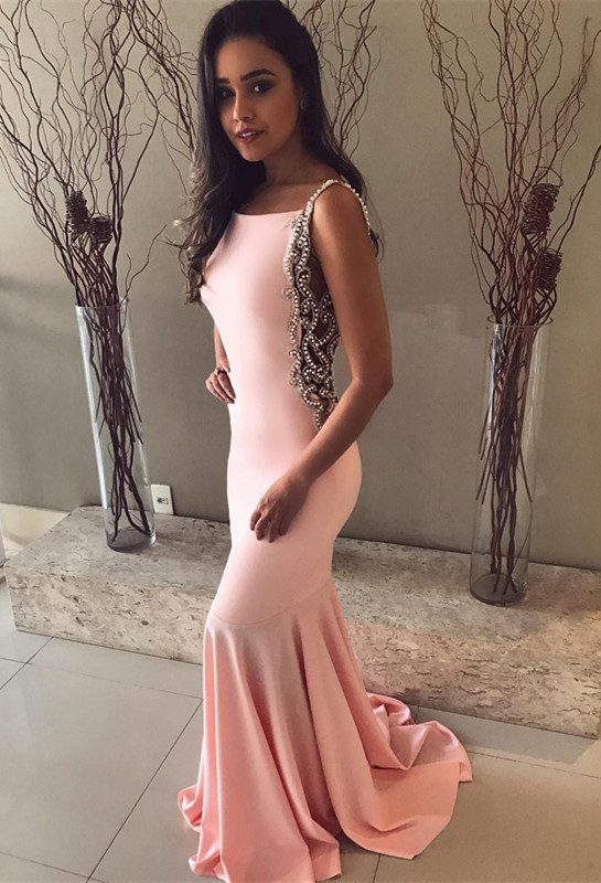 Pink Mermaid Prom Dress   2020 Evening Gowns With Beadings BA8929