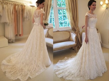 New Arrival Lace A-line Princess Wedding Dresses 2020 with Cap Sleeves