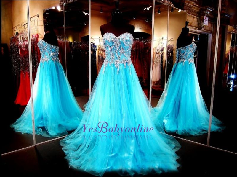 Sweetheart Blue Crystals Tulle Long Luxurious Beaded A-line Evening Dresses