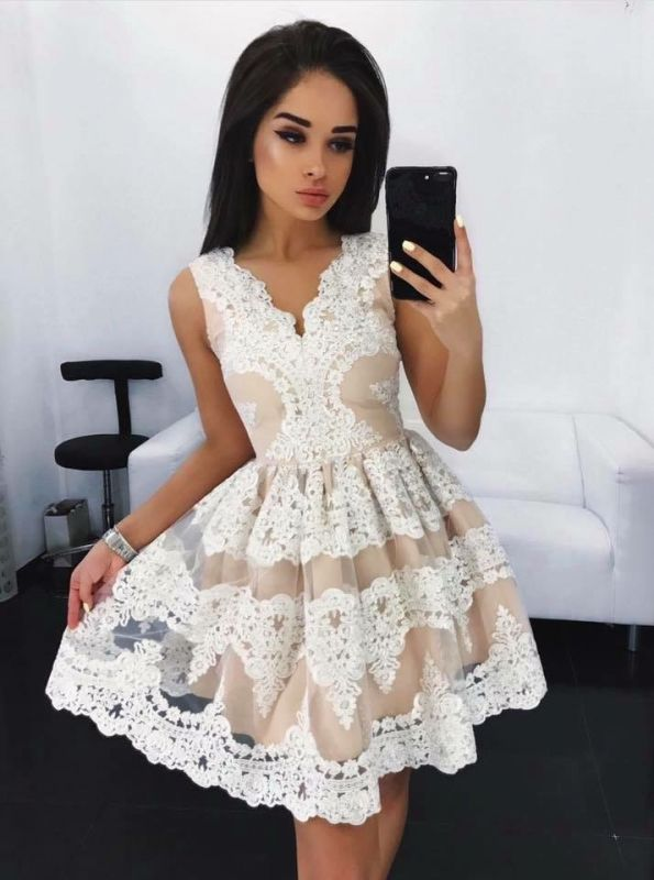 Lovely Lace Homecoming Dress Short Sleeveless Party Dress On Sale