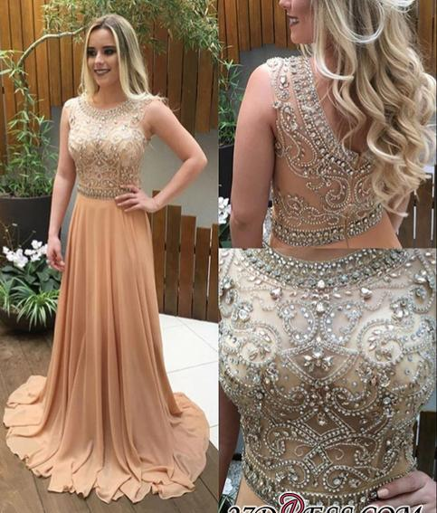 2020 Chiffon Champagne Crystals-Beaded A-line Luxury Long Prom Dresses