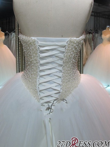 Sweetheart Pearls Princess Ball-Gown Glamorous Tulle Wedding Dress