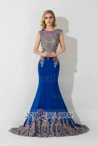 Sexy Illusion Cap Sleeve Mermaid Prom Dress Royal Blue Floor-length Appliques Evening Gown