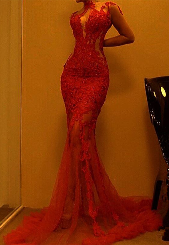 Gorgeous Red Mermaid Evening Dress | 2020 Lace Prom Dress On Sale