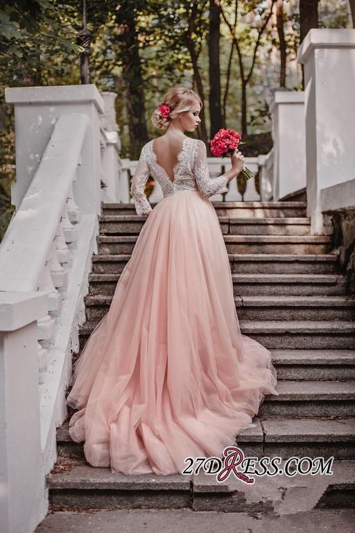 Lace Tulle V-Neck Pink Beautiful Long-Sleeve Zipper Wedding Dress