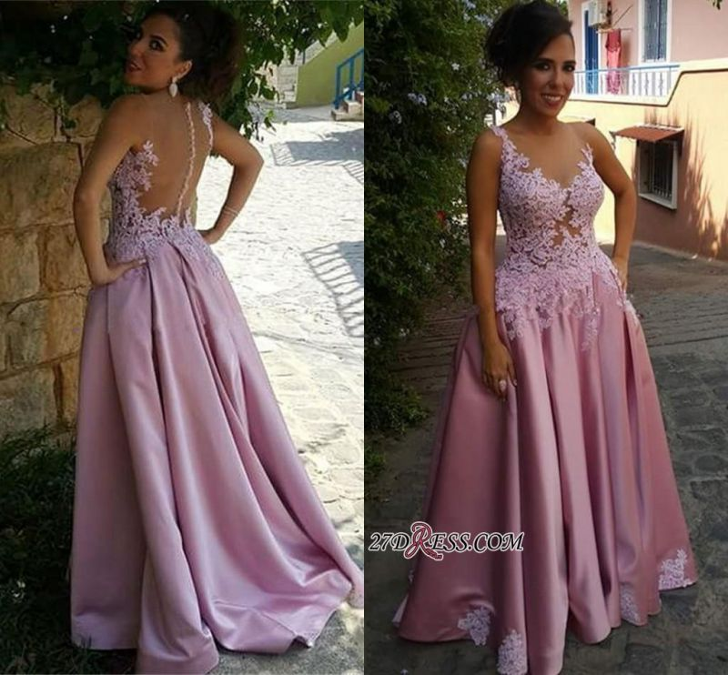 2020 Pink Delicate Buttons Sleeveless A-Line Appliques Prom Dress