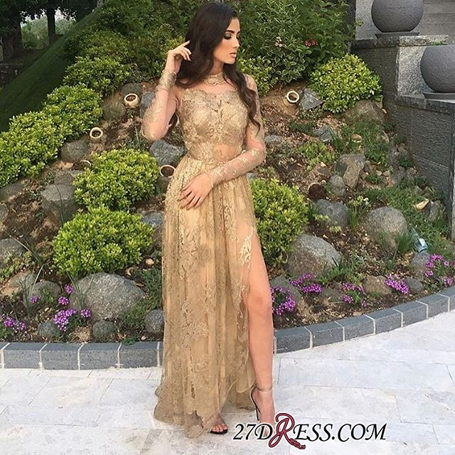 Gold Side-Slit High-Neck Long-Sleeves Sexy Appliques Tulle Prom Dresses BA8499
