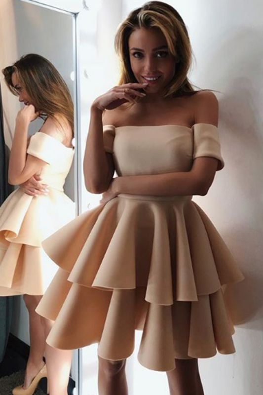 Gorgeous Short-Sleeve 2020 Homecoming Dress | Layers Mini Party Dress On Sale