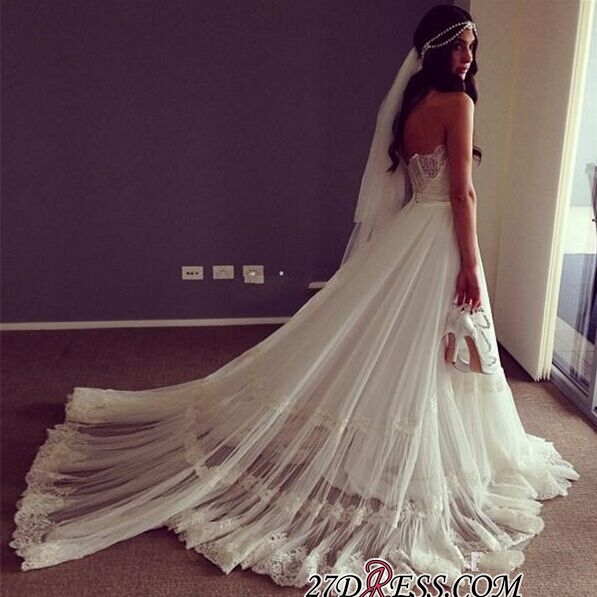 Lace Strapless Sleeveless A-line Chic Sweep-train Wedding Dress
