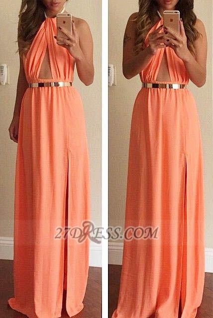 Classic High Neck Sleeveless Long Prom Dress With Front Split And Golden Belt