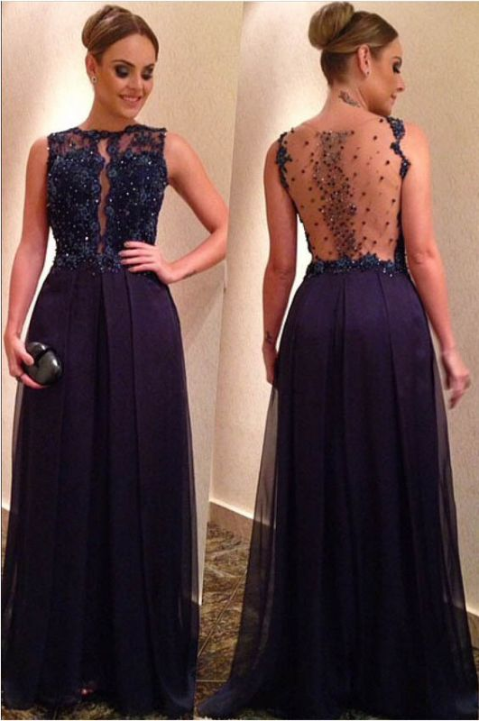 Elegant Beadings Lace Appliques Evening Dress 2020 A-line Floor-length