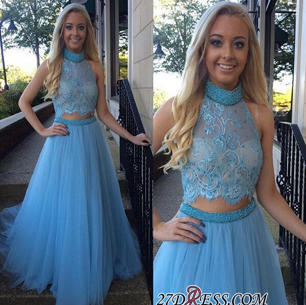 2020 High-Neck Glamorous Two-Pieces Tulle A-Line Beadings Prom Dress