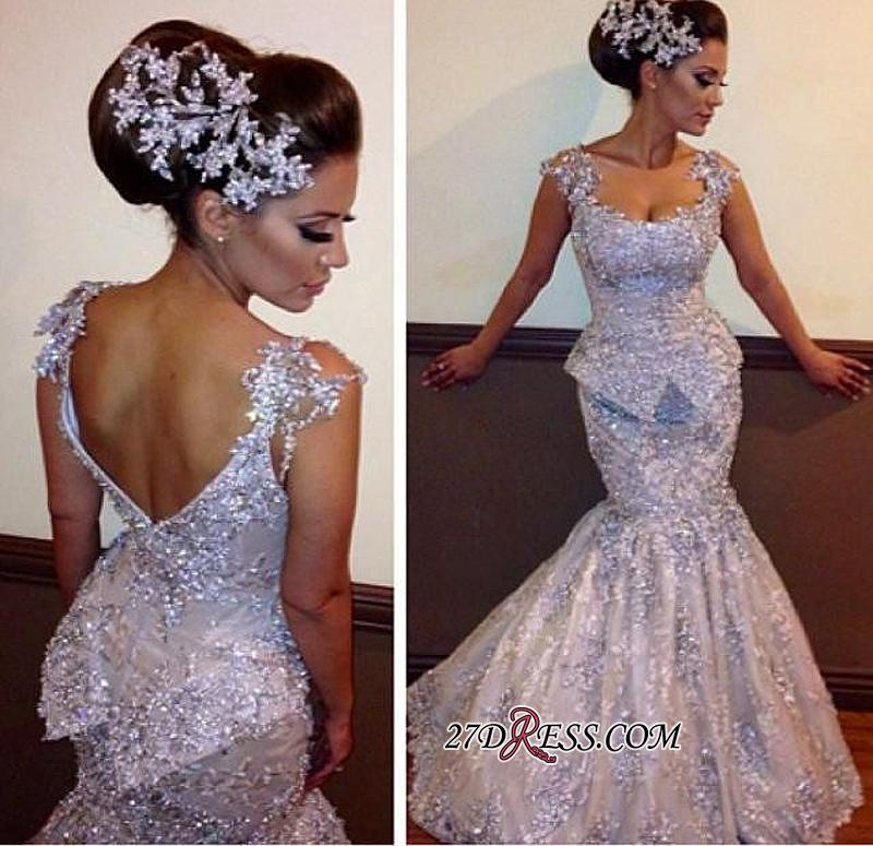 Open-Back Sleeveless Amazing Mermaid Sparkly Appliques Sequins Evening Dresses bo7011