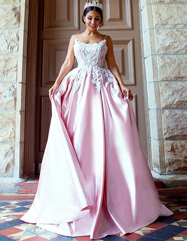 Gorgeous Pink Spaghetti-Straps Evening Dress | 2020 Mermaid Lace Prom Gown