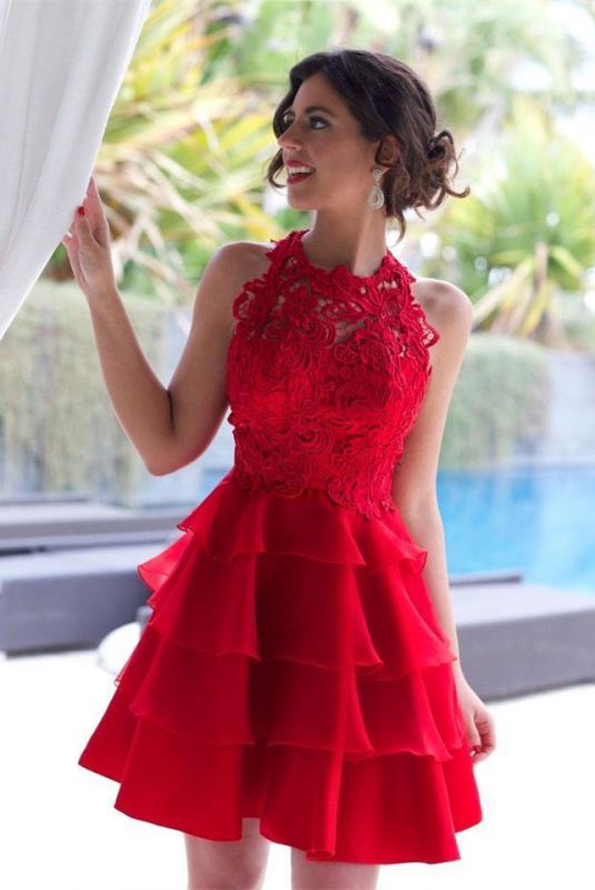 Sexy Red Lace Sleeveless Homecoming Dress 2020 Short Layers Cocktail Gowns