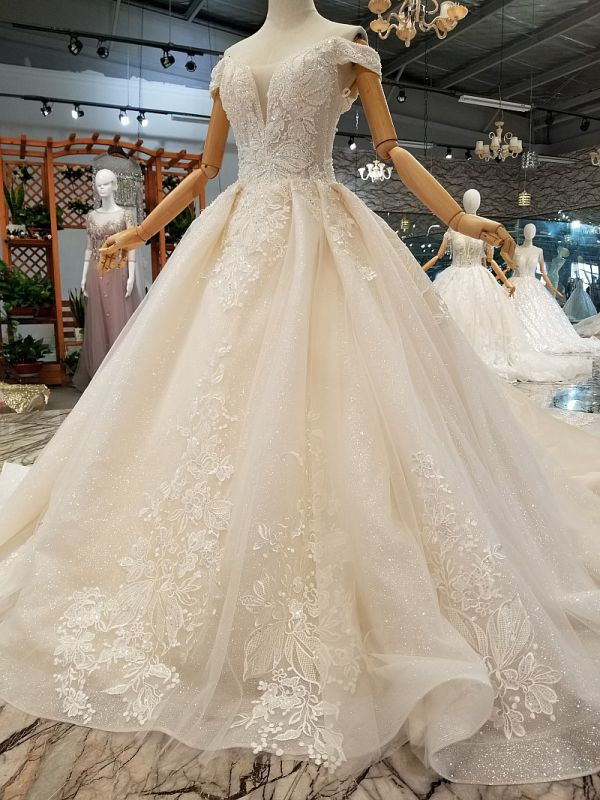 Luxurious Off-the-Shoulder Sequins Wedding Dresses | 2020 Beaidngs Lace Ball Gown Bridal Dresses BC1606