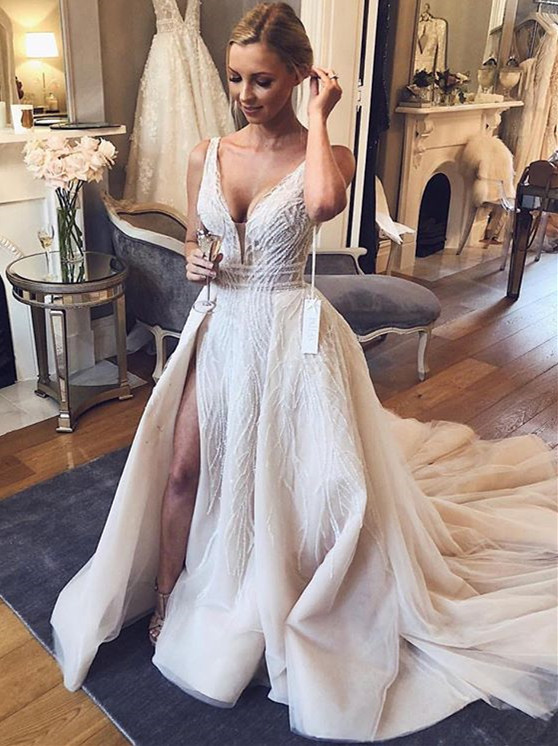 Chic V-Neck Sleeveless 2020 Wedding Dresses | Tulle Sequins Bridal Gowns With Slit BC1442