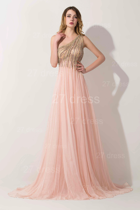 Lovely Pink One Shoulder 2020 Prom Dress Long Chiffon Lace