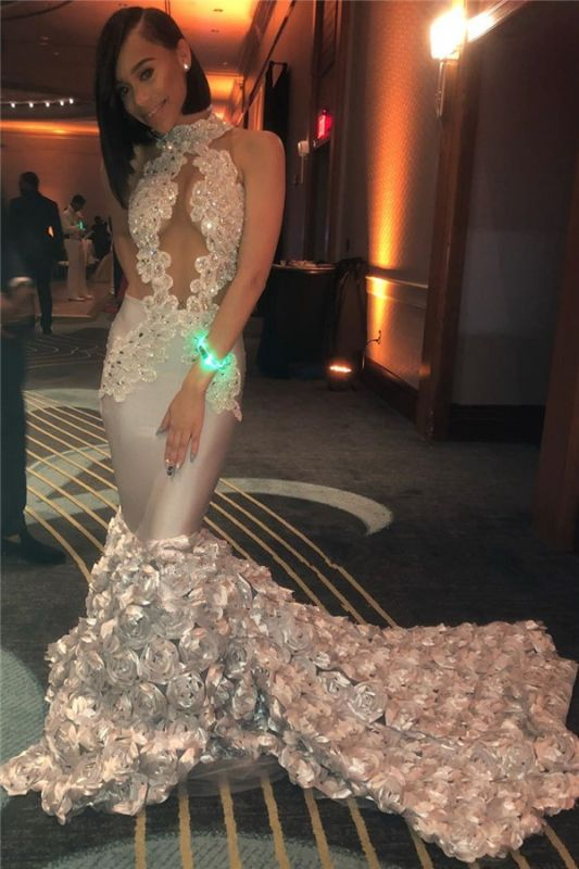 Stunning Lace Mermaid Prom Dresses On Sale | 2020 Evening Gowns With Flowers Bottom bk0
