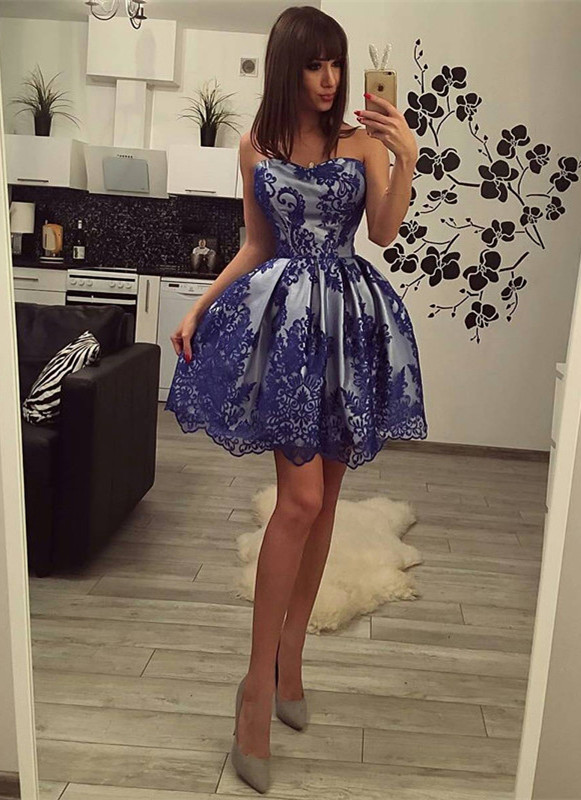 Charming Strapless Lace 2020 Homecoming Dress Short Party Gowns On Sale BC0208