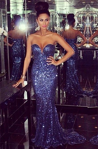 Sexy Sweetheart Sleeveless Mermaid Prom Dress With Sequins