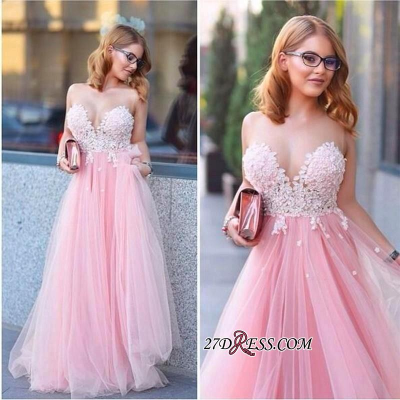 Tulle Sleeveless A-line Lace-Appliques Newest Prom Dress