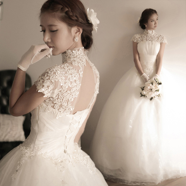 Elegant Tulle Lace Appliques 2020 Wedding Dress High Neck Ball Gown