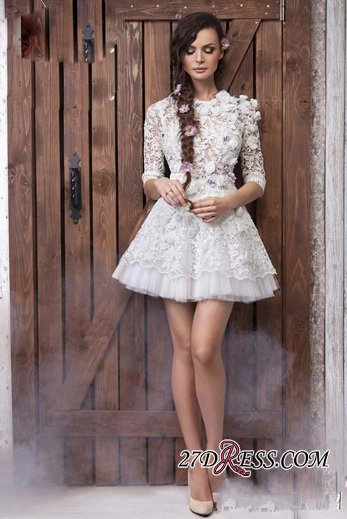 Sheer 3D-Floral Half-Sleeves Short Appliques Sexy Wedding Dresses