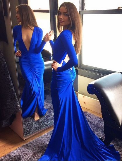 Sexy Royal Blue Deep V-Neck Prom Dress 2020 Mermaid Long Sleeve HT116