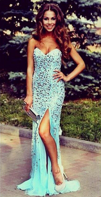 Luxurious Mermaid Crystals 2020 Prom Dress Front Split Sweep Train