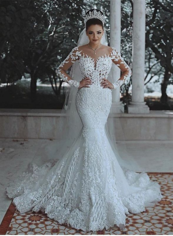 Glamorous Long Sleeve Lace Wedding Dress | 2020 Mermaid Bridal Gowns On Sale