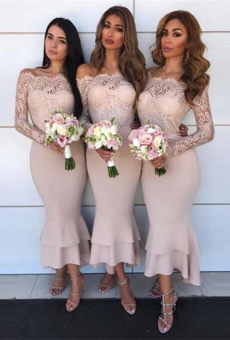 Hot Sale Long Sleeve Bridesmaid Dress | 2020 Lace Maid of Honor Dress