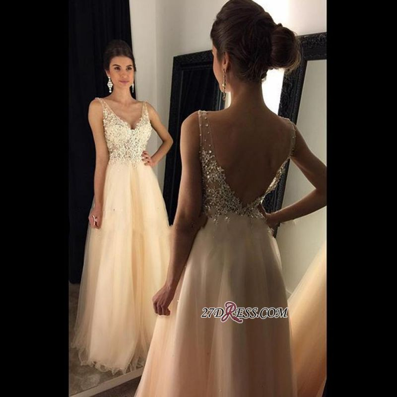 2020 V-Neck Champagne Open-Back Lace A-line Long Beaded Prom Dresses BA4046