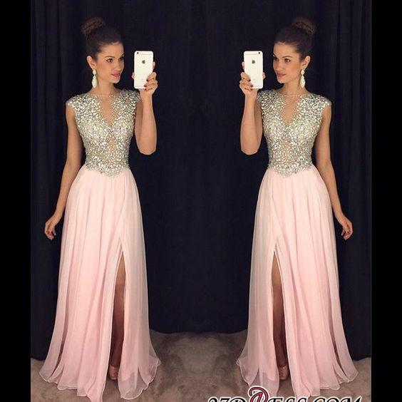 2020 A-line luxury Crystals Long Beaded Pink Front-Slit Prom Dresses AP0 BA4627