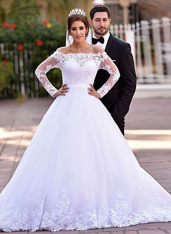 Delicate Off-the-shoulder Tulle Lace Appliques Wedding Dress 2020 Court Train