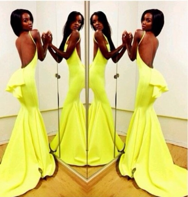 Sexy Backless Yellow Mermaid Prom Dresses 2020 Sleeveless Spaghetti Straps Evening Gowns BK0
