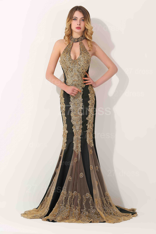 Glamorous High-Neck Backless Evening Dress 2020 Mermaid With Appliques Beadings