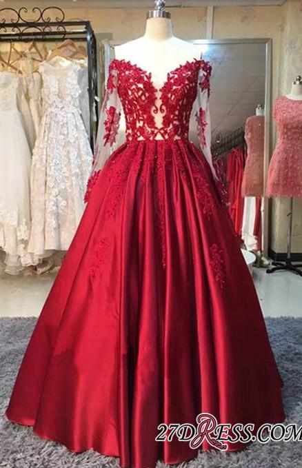 Lace-Appliques Off-the-Shoulder Puffy Red Long-Sleeves Prom Dresses BA5004