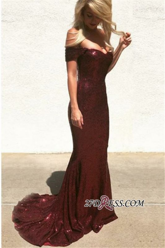 Charming Sequins Mermaid Prom Dresses   Shiny Off-the-Shoulder Evening Dresses