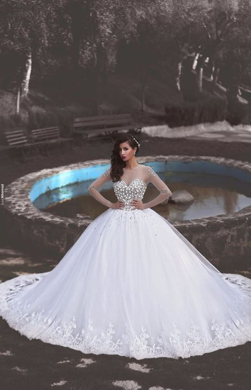 Newest Crystals Tulle Lace Illusion Wedding Dress 2020 Long Sleeve Ball Gown