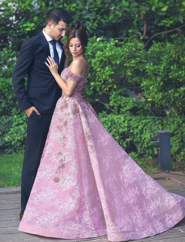 Gorgeous Off-the-Shoulder Beadings Prom Dress | Pink Lace Long Evening Gowns