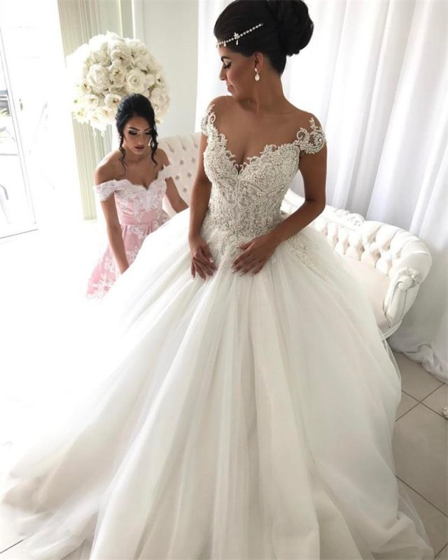 Princess tulle wedding dress, 2020 bridal gowns with beads