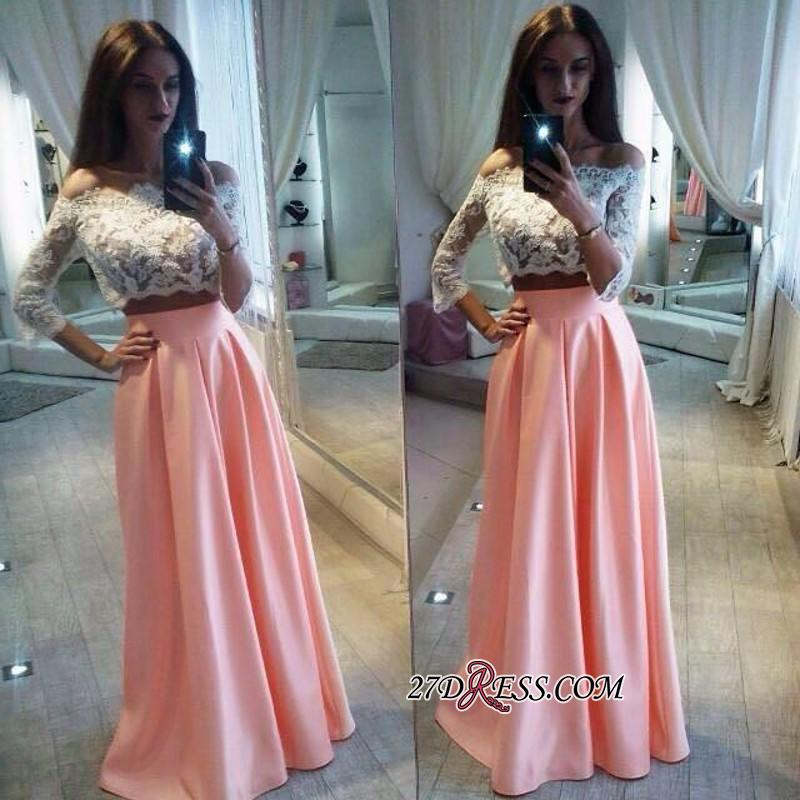 A-Line Pink Lace Elegant Off-the-Shoulder Two-Pieces Prom Dress BC1126