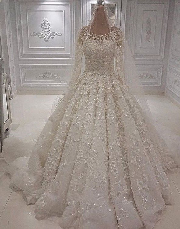 Gorgeous Crew Long Sleeve Lace Wedding Dress | Ball Gown Bridal Gowns With Appliques BC1244