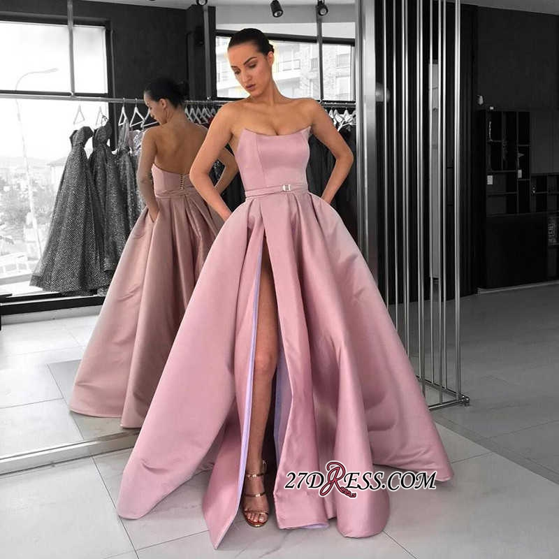 Gorgeous Strapless 2020 Prom Dresses | Pink Long Evening Gowns With Slit